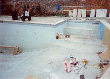 Traditional old Marbalite Pool undergoing Mosaic Overtile